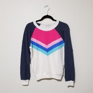Wildfox S Triangle Pink Blue Gray Pullover Top